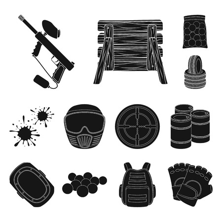 Paintball, team game black icons in set collection for design. Equipment and outfit vector symbol stock web illustration.