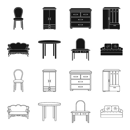 Furniture and home interior set collection icons in black,outline style vector symbol stock illustration web. Illustration