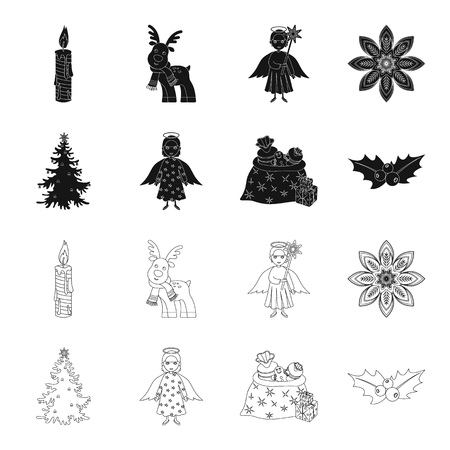Christmas tree, angel, gifts and holly black,outline icons in set collection for design. Christmas vector symbol stock web illustration.