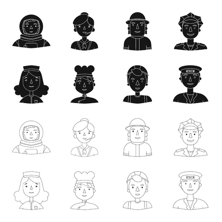 A nurse in a dressing gown, a cook , a builder, a taxi driver. People of different professions set collection icons in black,outline style vector symbol stock illustration web.