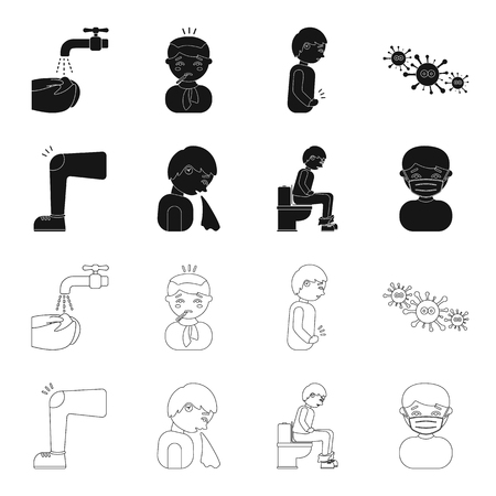 A foot with a bruise in the knee, sneezing sick, a man sitting on the toilet, a man in a medical mask. Sick set collection icons in black,outline style vector symbol stock illustration web. Ilustração
