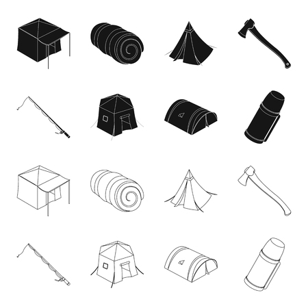 Tent set collection icons in black,outline style vector symbol stock illustration web. Illusztráció