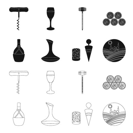A bottle of wine in a basket, a gafine, a corkscrew with a cork, a grape valley. Wine production set collection icons in black,outline style vector symbol stock illustration web. Çizim