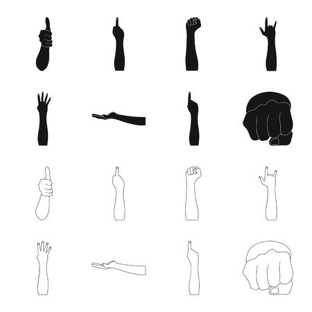Lenguaje de señas negro, iconos de contorno en la colección de conjunto para el diseño. Parte emocional de la ilustración de web de stock de símbolo de vector de comunicación.