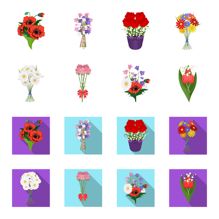 A bouquet of fresh flowers cartoon,flat icons in set collection for design. Various bouquets vector symbol stock web illustration. Vettoriali