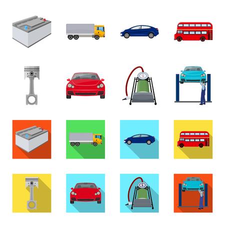 Voiture sur ascenseur, piston et pompe caricature, icônes plats dans la collection de jeu pour la conception. Station de maintenance de voiture vecteur symbole stock illustration web.