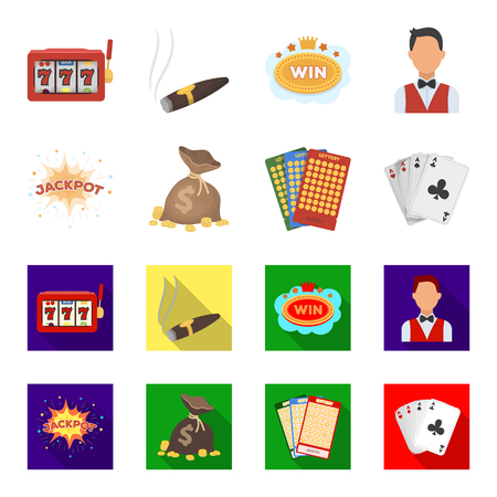 Casino and gambling set collection icons in cartoon,flat style vector symbol stock illustration web.