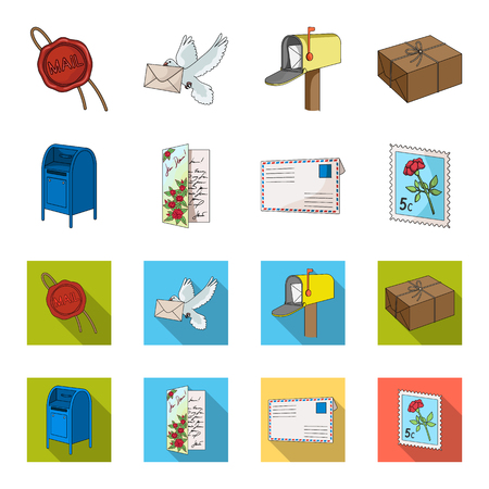 Mailbox, congratulatory card, postage stamp, envelope.Mail and postman set collection icons in cartoon,flat style vector symbol stock illustration web.