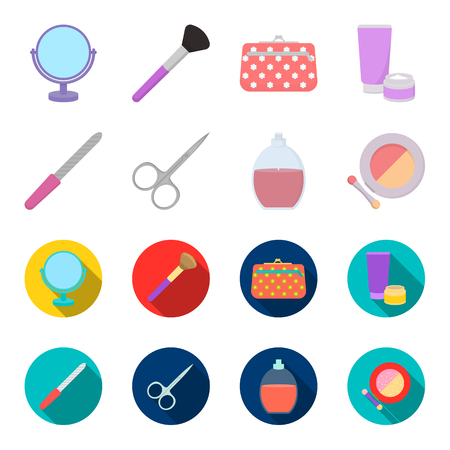 Nail file, scissors for nails, perfume, powder with a brush.Makeup set collection icons in cartoon,flat style vector symbol stock illustration web.