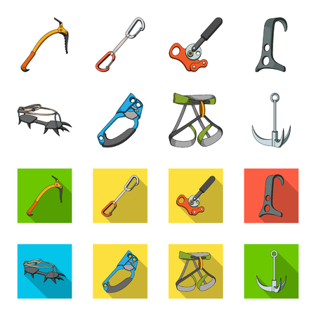 Hook, mountaineer harness, insurance and other equipment.Mountaineering set collection icons in cartoon,flat style vector symbol stock illustration web. Illustration