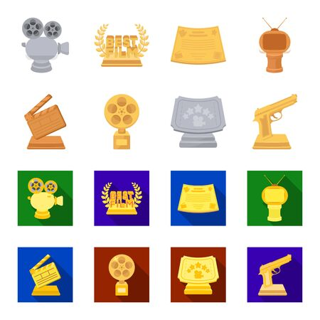 Gold pistol, silver prize for the best supporting role and other prizes.Movie awards set collection icons in cartoon,flat style vector symbol stock illustration web. Vettoriali
