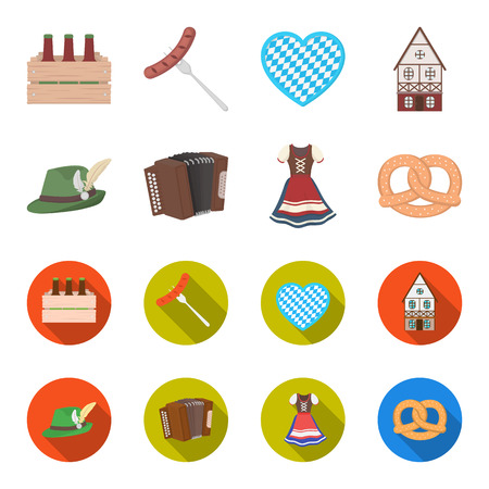 Tyrolean hat, accordion, dress, pretzel. Oktoberfest set collection icons in cartoon,flat style vector symbol stock illustration web.