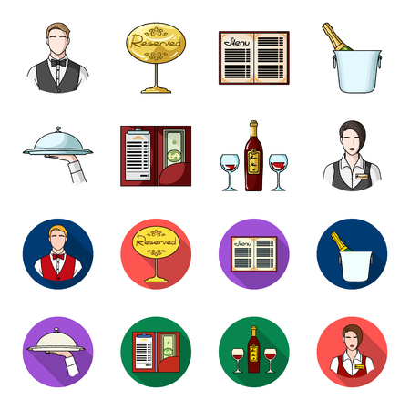 A tray with a cloth, check and cash, a bottle of wine and glasses, a waitress with a badge. Restaurant set collection icons in cartoon,flat style vector symbol stock illustration web. 일러스트