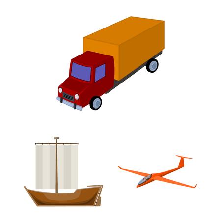 Verschiedene Arten von Transportkarikaturikonen in der Satzsammlung für Design. Auto- und Schiffsvektorsymbolvorrat-Netzillustration. Vektorgrafik