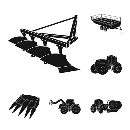 Agricultural machinery black icons in set collection for design. Equipment and device vector symbol stock web illustration. Vectores