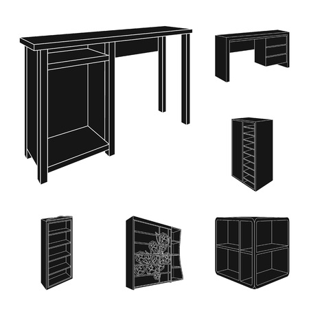 Bedroom furniture black icons in set collection for design. Modern wooden furniture isometric vector symbol stock web illustration.