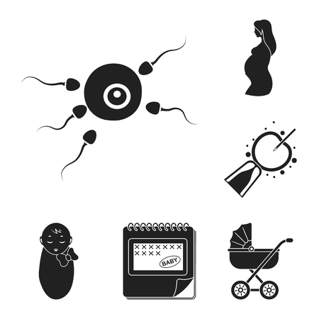 Woman and pregnancy black icons in set collection for design. Gynecology and equipment vector symbol stock web illustration.