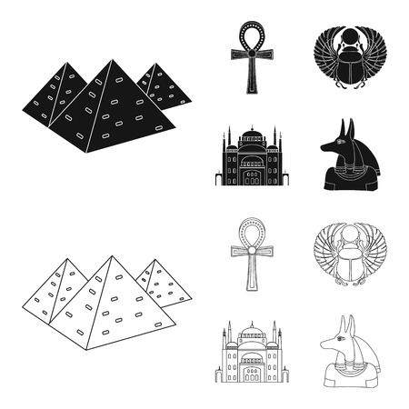 Anubis, Ankh, Cairo citadel, Egyptian beetle.Ancient Egypt set collection icons in black,outline style vector symbol stock illustration web. Illusztráció