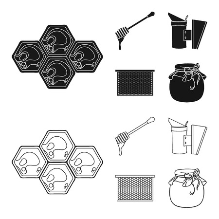 A frame with honeycombs, a ladle of honey, a fumigator from bees, a jar of honey. Apiary set collection icons in black, outline style vector symbol stock illustration web. Illustration