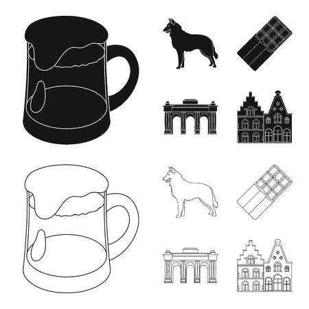 Chocolate, cathedral and other symbols of the country.Belgium set collection icons in black,outline style vector symbol stock illustration web.