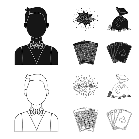 Jack sweat, a bag with money won, cards for playing Bingo, playing cards. Casino and gambling set collection icons in black,outline style vector symbol stock illustration web.  イラスト・ベクター素材