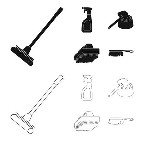 Limpieza y mucama negro, iconos de contorno en conjunto para el diseño. Equipo para la limpieza de stock ilustración vectorial símbolo.