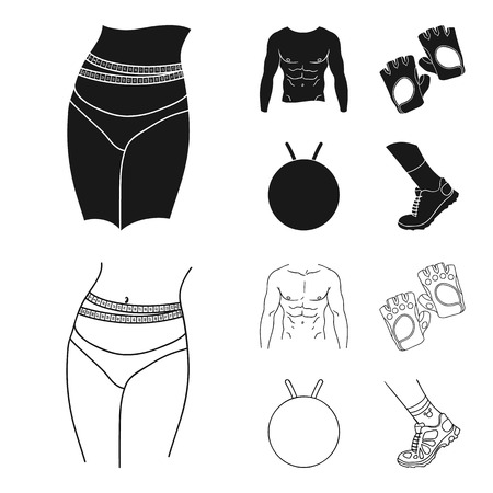 Men torso, gymnastic gloves, jumping ball, sneakers. Fitnes set collection icons in black,outline style vector symbol stock illustration web.