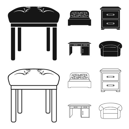 Interior, design, bed, bedroom .Furniture and home interiorset collection icons in black,outline style vector symbol stock illustration web.
