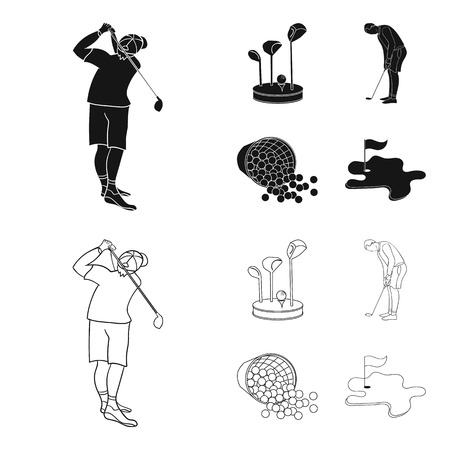 Stand for a golf club, muzhchin playing with a club, basket with balls, label with a flag on the golf course. Golf Club set collection icons in black,outline style vector symbol stock illustration web.