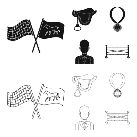 Saddle, medal, champion, winner .Hippodrome and horse set collection icons in black,outline style vector symbol stock illustration web.