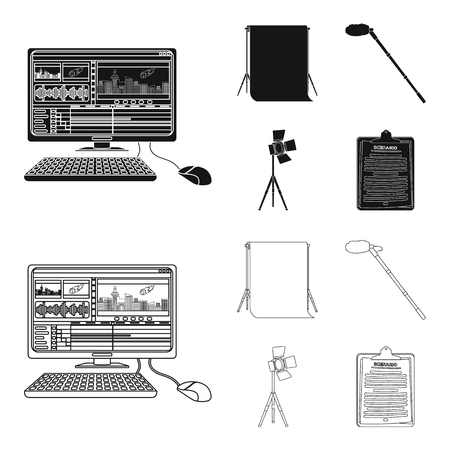 Hromakey, script and other equipment. Making movies set collection icons in black,outline style vector symbol stock illustration web.