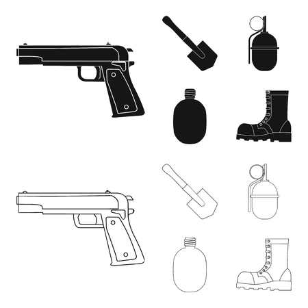Sapper blade, hand grenade, army flask, soldier boot. Military and army set collection icons in black,outline style vector symbol stock illustration Ilustração