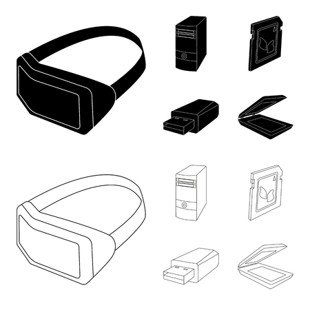 A system unit, a flash drive, a scanner and a SD card. Personal computer set collection icons in black,outline style vector symbol stock illustration web. Фото со стока - 97679429