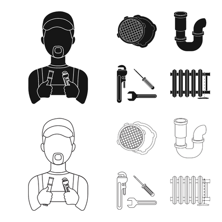 Sewage hatch, tool, radiator. Plumbing set collection icons in black, outline style vector symbol stock illustration