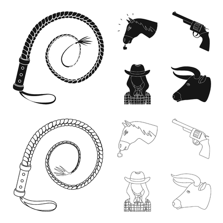 Head of a horse, a bull head, a revolver, a cowboy girl. Rodeo set collection icons in black,outline style vector symbol stock illustration web.
