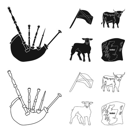 The state flag of Andreev, Scotland, the bull, the sheep, the map of Scotland. Scotland set collection icons in black,outline style vector symbol stock illustration web.