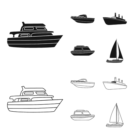 Protection boat, lifeboat, cargo steamer, sports yacht.Ships and water transport set collection icons in black,outline style vector symbol stock illustration web. Illustration