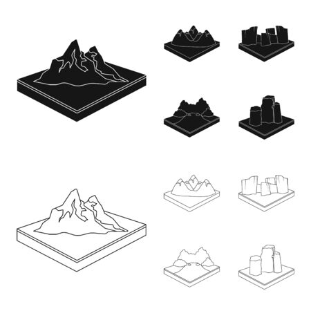 Mountains, rocks and landscape. Relief and mountains set collection icons in black, outline style isometric vector symbol stock illustration Illusztráció