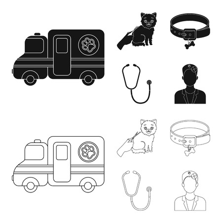 Collar, bone, cat, haircut .Vet Clinic set collection icons in black,outline style vector symbol stock illustration web.