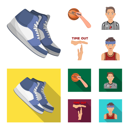 Basketball and attributes cartoon, flat icons in set collection for design. Basketball player and equipment vector symbol stock illustration. Çizim