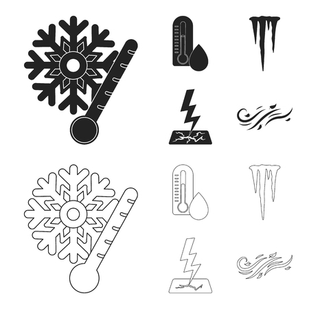 Humidity, icicles, thunderbolt, windy weather. Weather set collection icons in black, outline style vector symbol stock illustration 일러스트