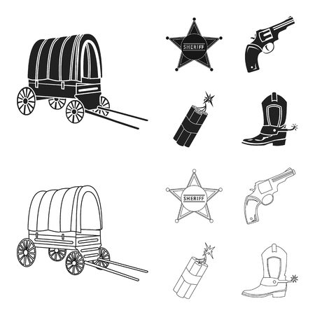 Star sheriff, Colt, dynamite, cowboy boot. Wild West set collection icons in black,outline style vector symbol stock illustration web.