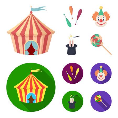 Circus tent, juggler maces, clown, magician hat.Circus set collection icons in cartoon,flat style vector symbol stock illustration web.