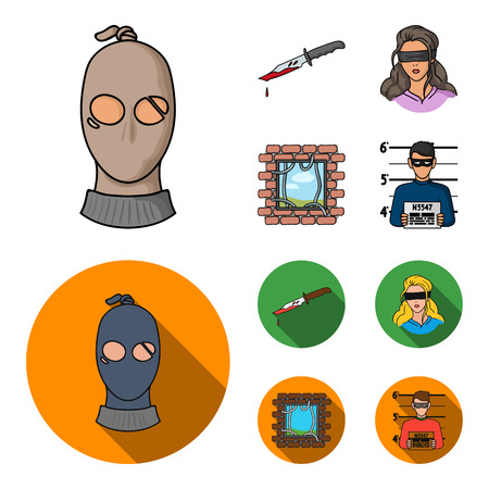 A thief in a mask, a bloody knife, a hostage, an escape from prison. Crime set collection icons in cartoon, flat style vector symbol stock illustration Standard-Bild - 97677814
