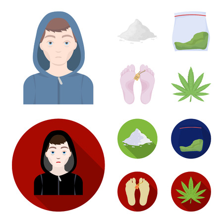 Addict, cocaine, marijuana, corpse.Drug set collection icons in cartoon,flat style vector symbol stock illustration web. Illustration