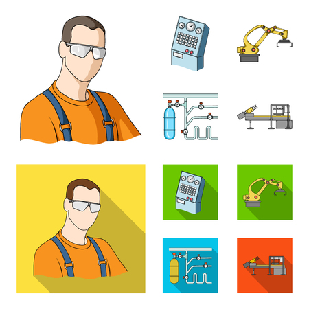 Modern equipment and other web icon in cartoon,flat style.Machine tools and equipment factory icons in set collection.