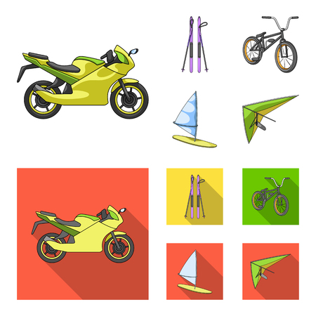 Motorcycle, mountain skiing, biking, surfing with a sail. Extreme sport set collection icons in cartoon, flat style vector symbol stock illustration