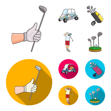 A gloved hand with a stick, a golf cart, a trolley bag with sticks in a bag, a man hammering with a stick. Golf Club set collection icons in cartoon,flat style vector symbol stock illustration web.