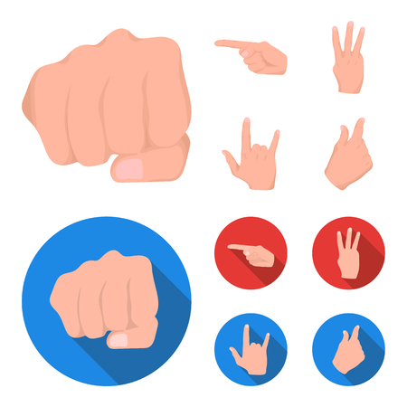 Closed fist, index, and other gestures. Hand gestures set collection icons in cartoon,flat style vector symbol stock illustration web.