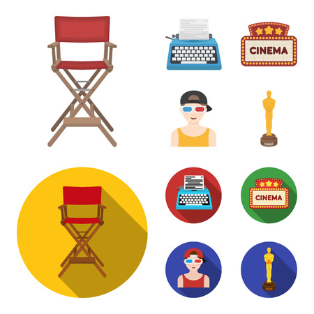 Chair of the director, typewriter, cinematographic signboard, film-man. Films and cinema set collection icons in cartoon,flat style vector symbol stock illustration web. Stock Illustratie